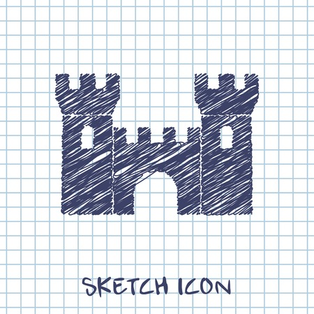 fortification: vector sketch icon of castle