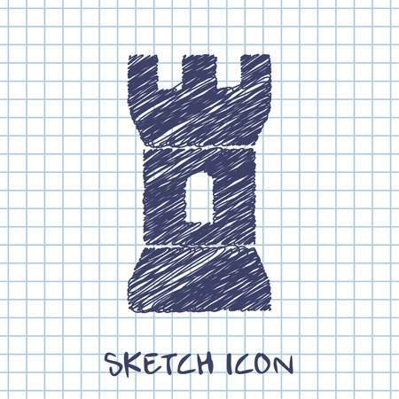 fortification: vector sketch icon of tower Illustration