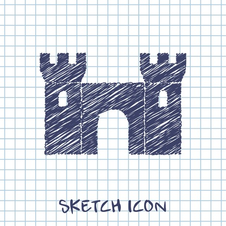 chateau: vector sketch icon of castle