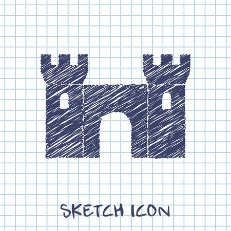 citadel: vector sketch icon of castle