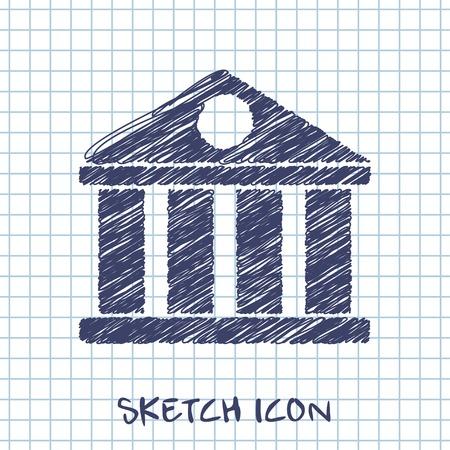 governmental: vector sketch icon of court building Vectores