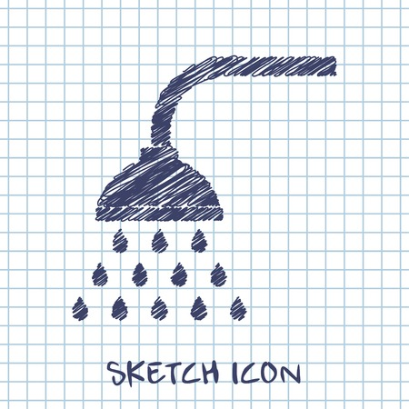 basin: vector sketch icon of shower Illustration