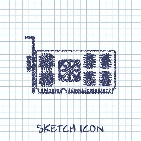 mainboard: vector sketch icon of computer video card