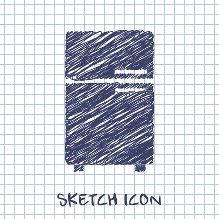 classics: vector sketch icon of fridge Illustration