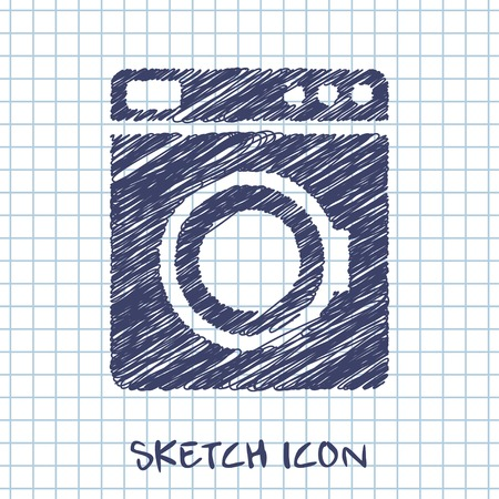 major household appliance: vector sketch icon of washing machine Illustration