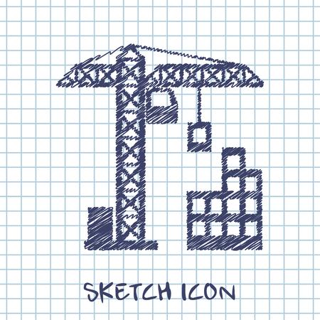 building sketch: building construction vector sketch icon