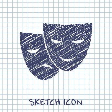 theatre masks: theatre masks vector sketch icon