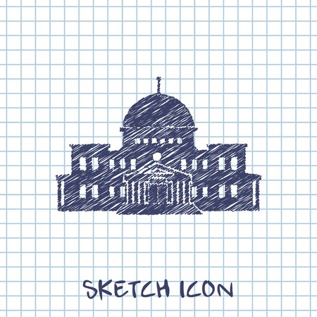 capitol hill: government building vector sketch icon Illustration