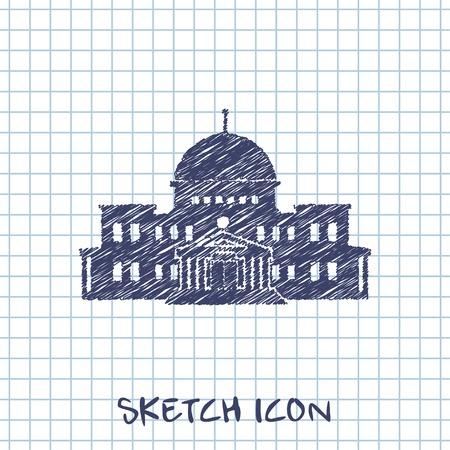 senate: government building vector sketch icon Illustration