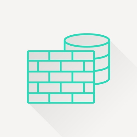 firewall: icon of firewall and database Illustration