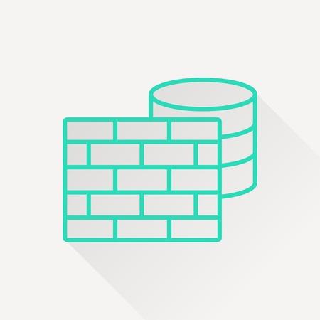 cylinder lock: icon of firewall and database Illustration