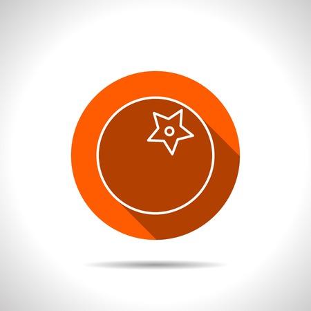 circle icon: Vector tomato orange icon with flat shadow Illustration