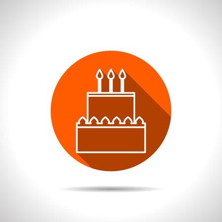 orange cake: Vector birthday cake orange icon with flat shadow Illustration