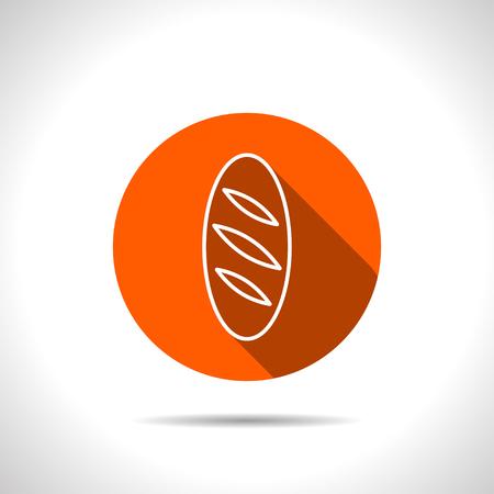 loaf: Vector loaf orange icon with flat shadow Illustration