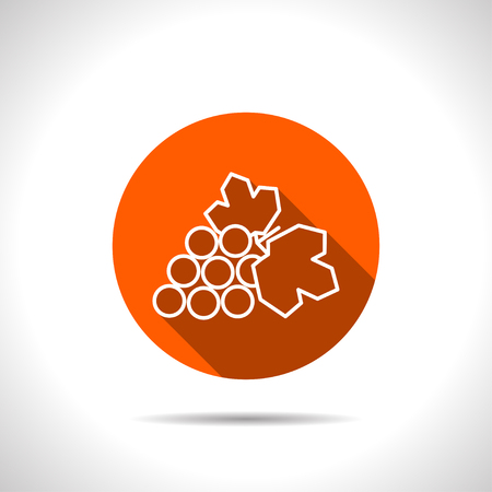 harvesting: Vector grape orange icon with flat shadow Illustration
