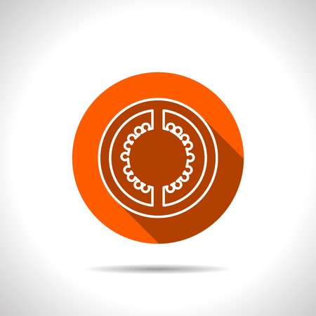 tomato slice: Vector tomato slice orange icon with flat shadow Illustration