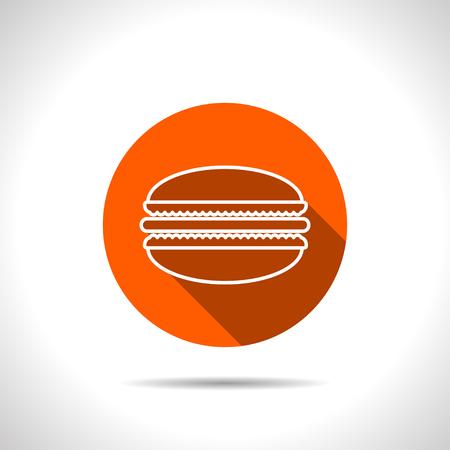 macaroon: Vector macaroon orange icon with flat shadow Illustration