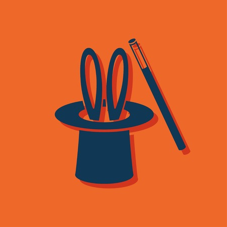 magician hat: Magic trick rabbit in black hat cylinder