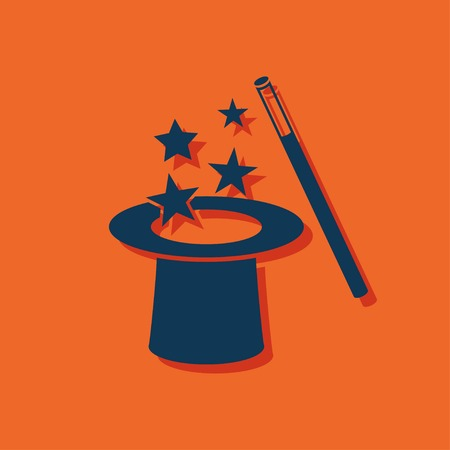 illusionist: Vector magic hat and wand with sparkles