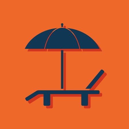 transat: Plage vecteur ic�ne. Parapluie avec chaise longue