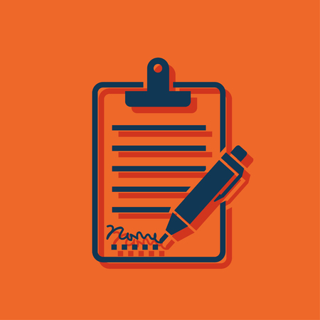 tilt: Clipboard with sign and pen icon Illustration