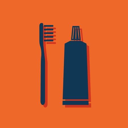 toiletries: Toothbrush and toothpaste icon