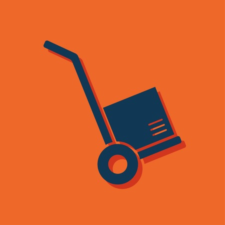 hand cart: cargo transportation with hand cart icon