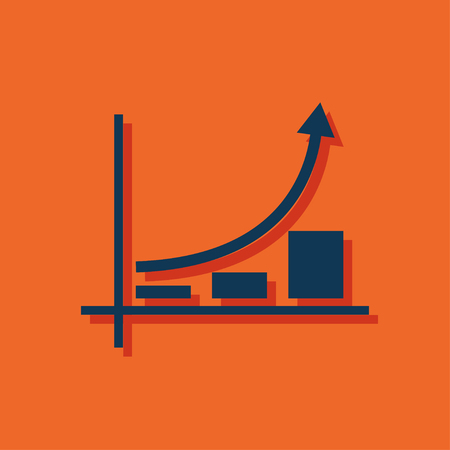 graphic icon: Growing bars graphic icon with rising arrow Illustration