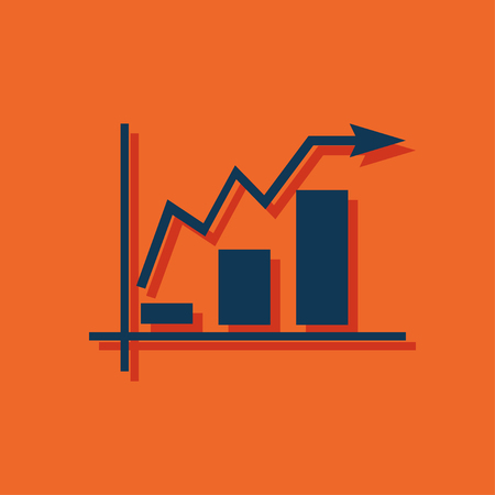 bargraph: Growing bars graphic icon with rising arrow Illustration