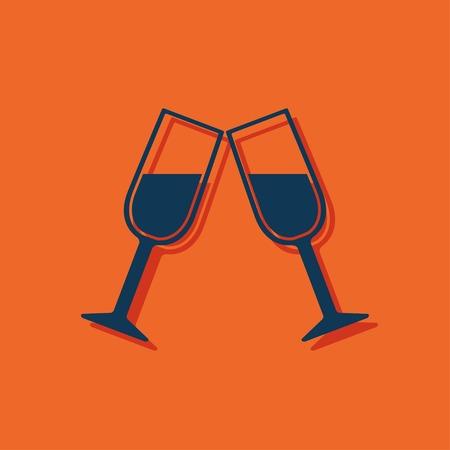 champagne orange: Two glasses of wine or champagne icon