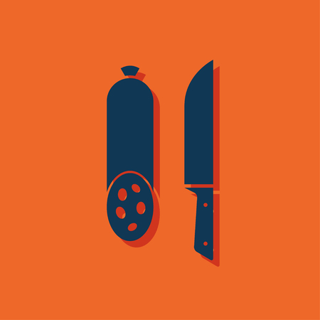 animal icon: icon of salami with knife Illustration