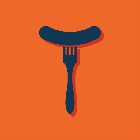 cooked sausage: icon of sausage on fork Illustration