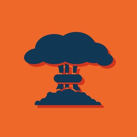 fission: Mushroom cloud, nuclear explosion, silhouette, vector Illustration