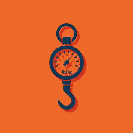 spring balance: Vector icon mechanical kitchen scales on orange background