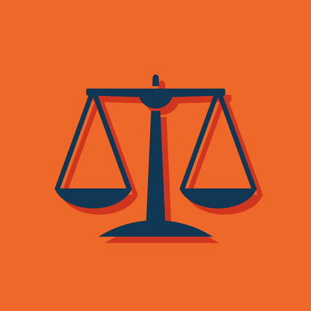acquittal: Justice scale icon on orange background