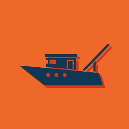 barco pesquero: Motor fishing boat icon or sign, vector icon