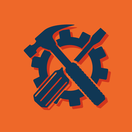 Crossed screwdriver and hammer tools, vector Illustration