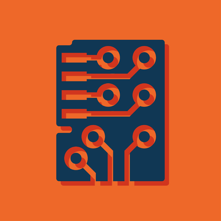 microchip: Web icon of microchip, vector design