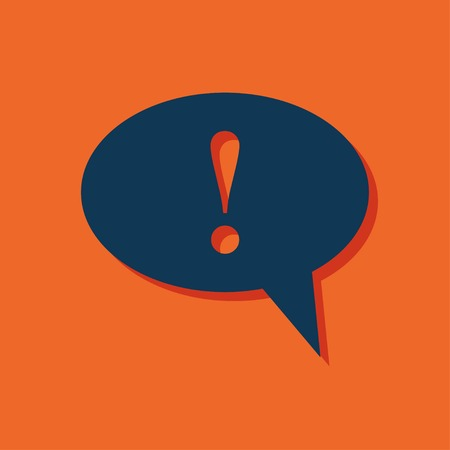 Icon of speech bubble with exclamation mark, vector illustration Ilustração