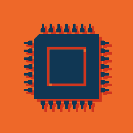 microprocessor: icon of microchip