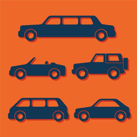 sprinter van: Set of car silhouettes isolated on orange. Vector illustration Illustration