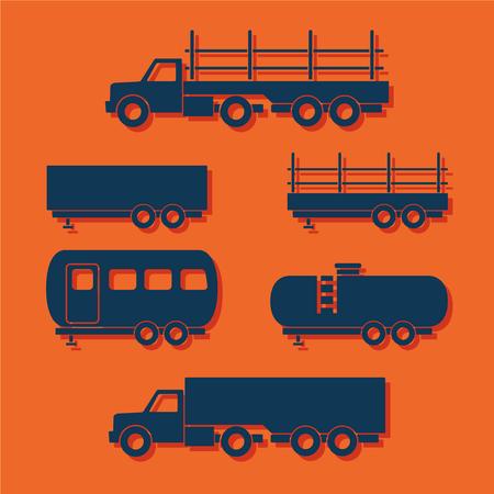 sprinter van: Set of transport flat icons. Vector illustration