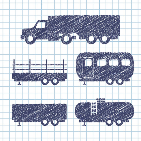 copybook: Set of transport icons on copybook paper. Vector illustration Illustration