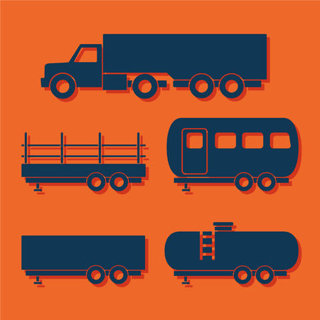 Set of transport flat icons. Vector illustration