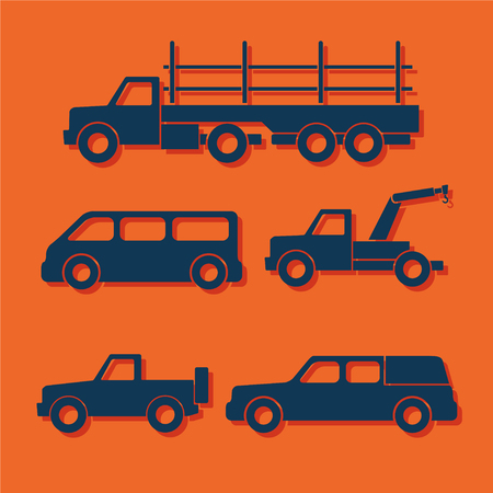 Set of car silhouettes isolated on orange. Vector illustration Illustration