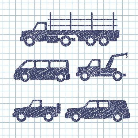 Set of car silhouettes isolated on copybook paper. Vector illustration