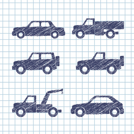 sprinter van: Set of car silhouettes isolated on copybook paper. Vector illustration