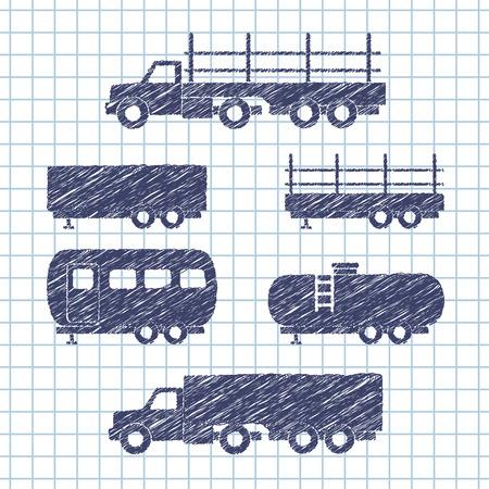 copybook: Set of transport icons on copybook paper. Vector illustration Illustration