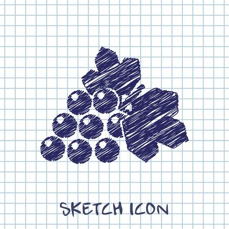Vector grape icon. Food icon.