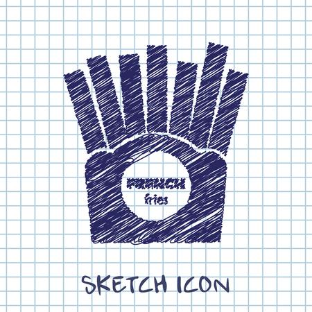 papas fritas: Vector icono de papas fritas. Icono del alimento. Vectores